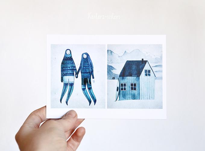 k o n t o r a s i s t e r s postcard illustration by nastia sleptsova