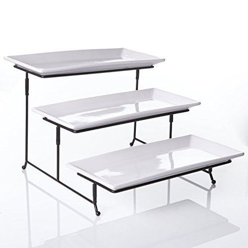 3 Tier Rectangular Serving Platter Three Tiered Cake Tray Stand Food Server Display Plate Rack White Cake Tray Cake Stand Ceramic Tiered Serving Stand