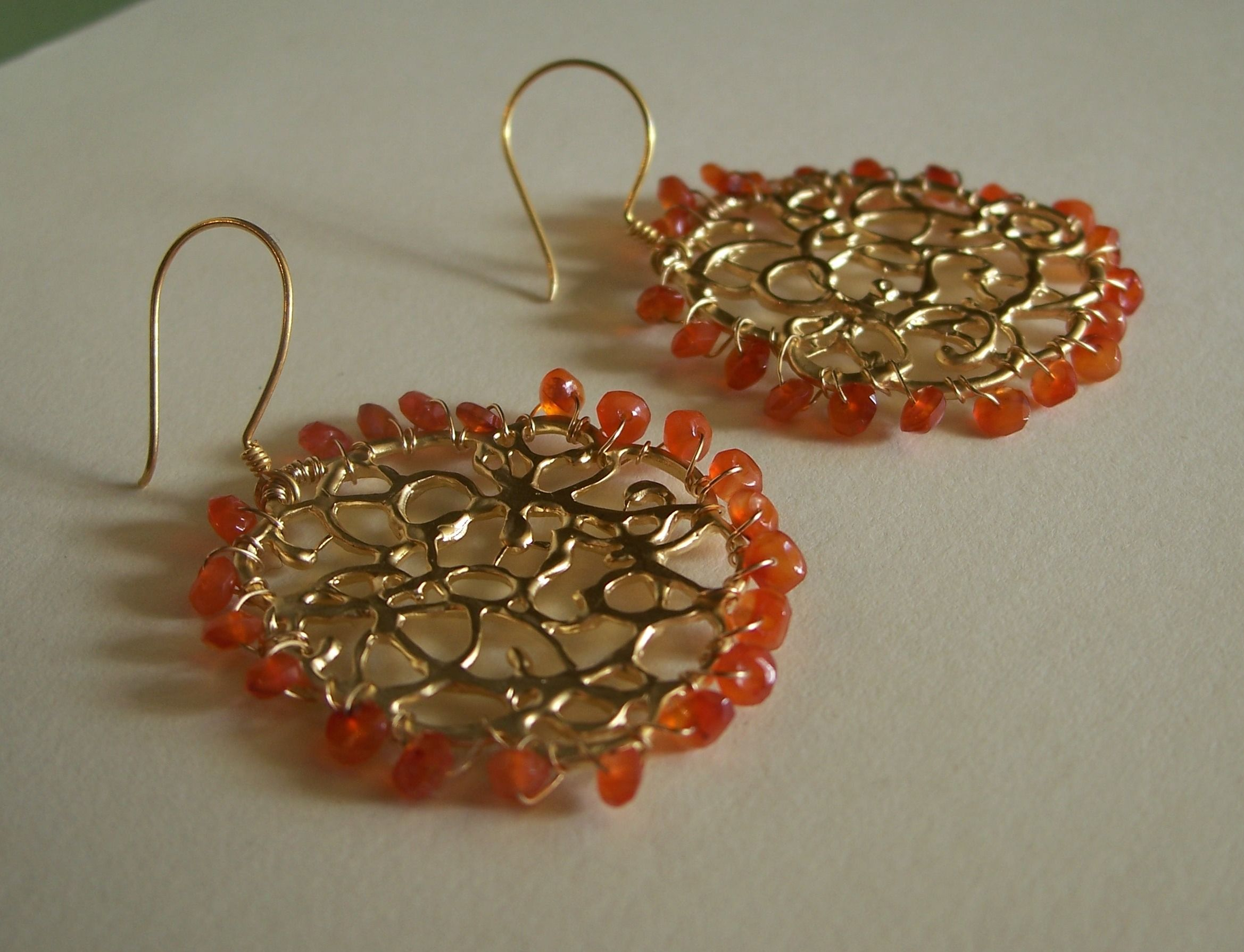 Gold disc earrings with carnelians! Made with love! These are made by my friend Tiffany, she makes the most GORGEOUS pieces! Check her out at Pixie Handmade Jewlery on Etsy!