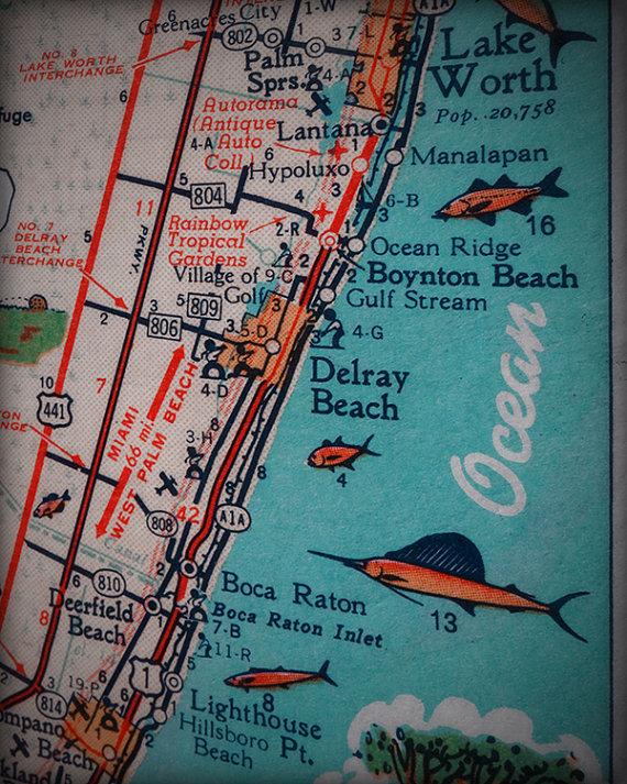 Map Of Florida Showing Delray Beach.Delray Boynton Boca Raton Hillsboro Beach Retro Beach Map Print