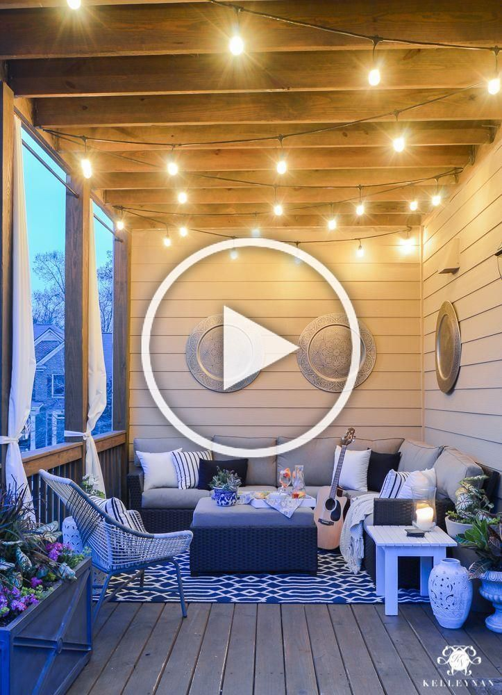 Twinkle lights on the back porch- cozy outdoor living #porch #porchdecor #backdeck #porchideas #porchescozyhome