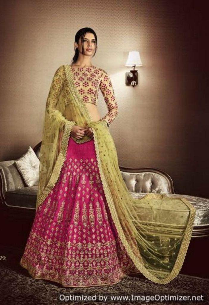 Contrast Pink Bhagalpuri In Skirt Embroidered Lehenga 5072