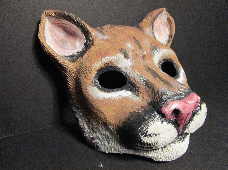 Mountain Lion Full Face Mask Neko Florida Panther Mask Etsy Animal Masks Owl Mask Full Face Mask