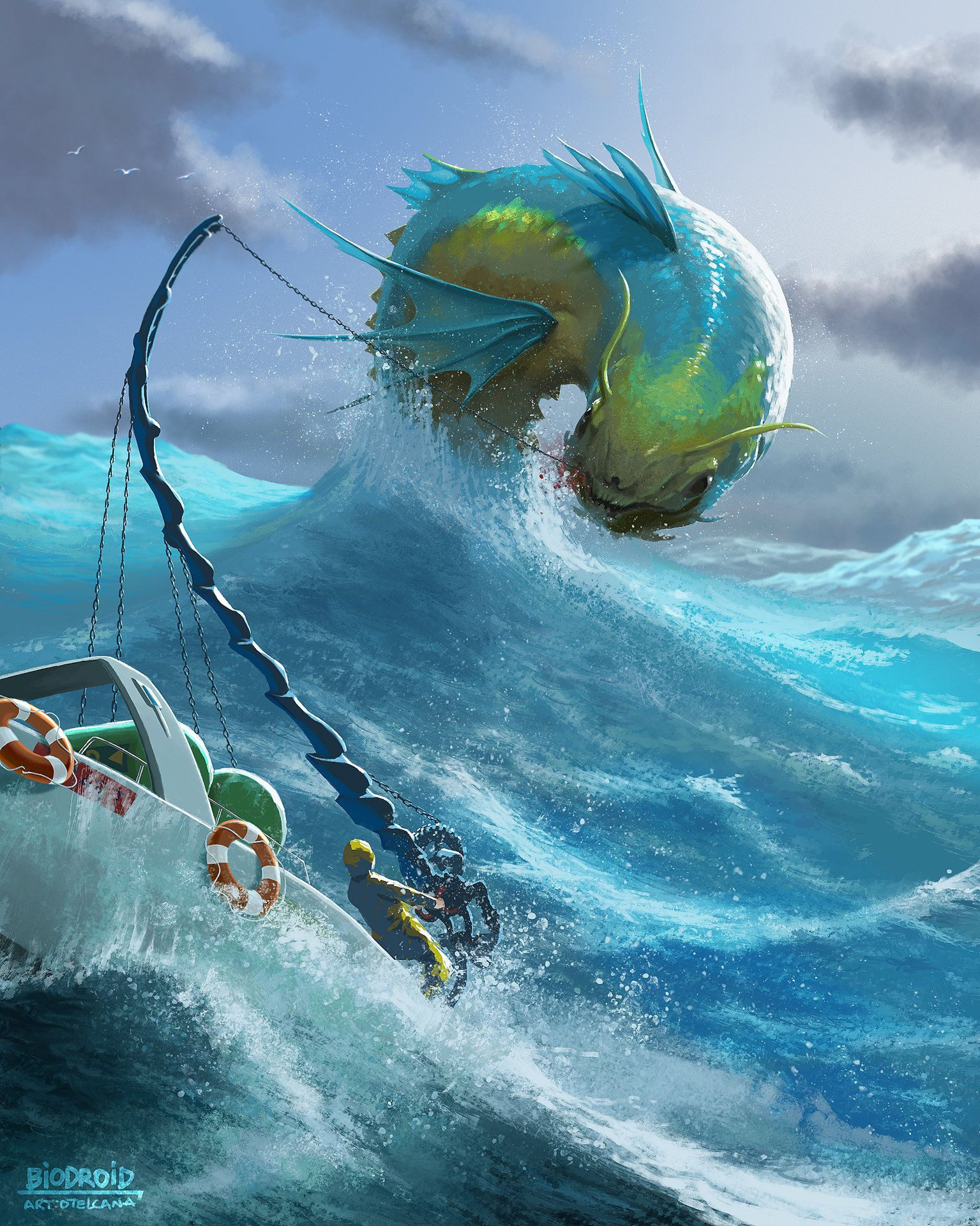 ArtStation - Fishing monsters, Pedro Otelcana