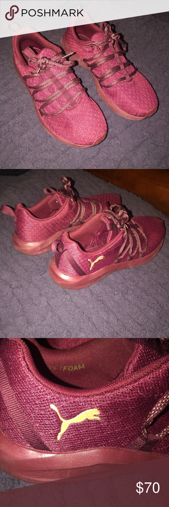 Burgundy Puma Memory Foam sneakers