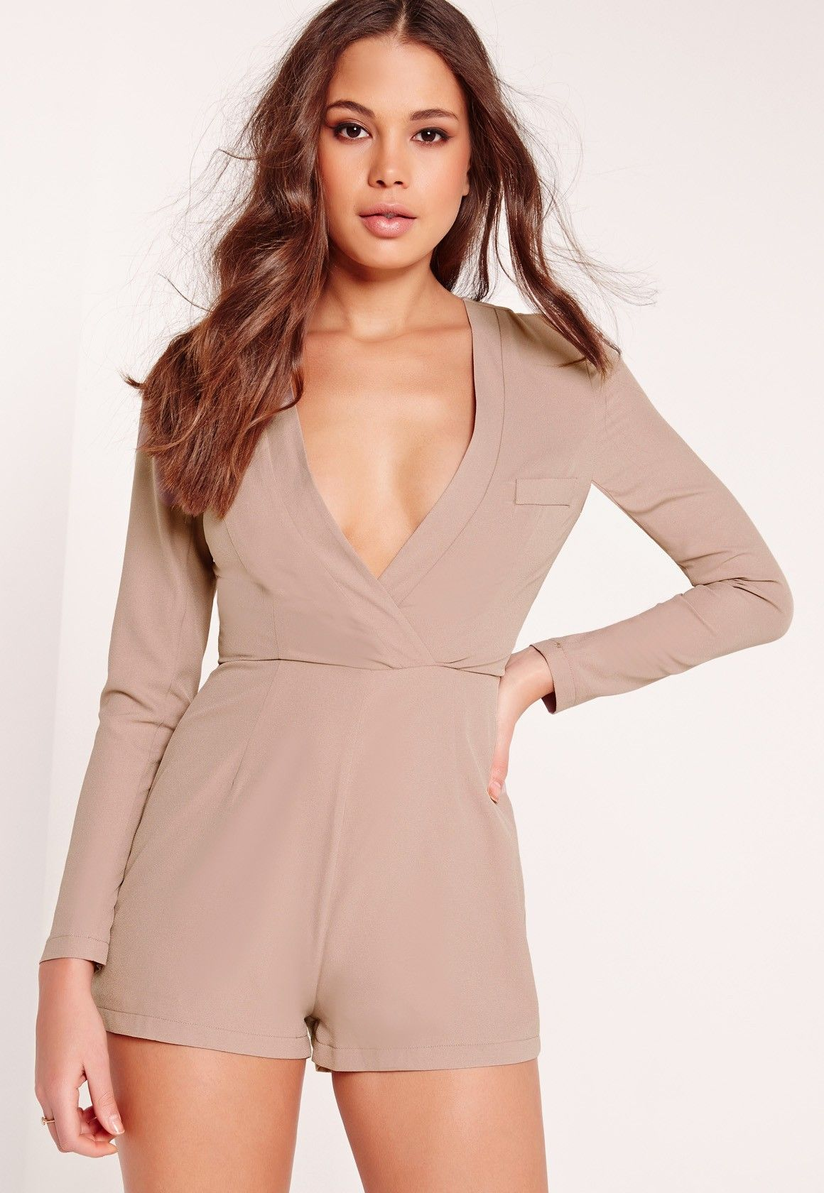 e2a39c66314 Missguided - Crepe Long Sleeve Blazer Romper Taupe