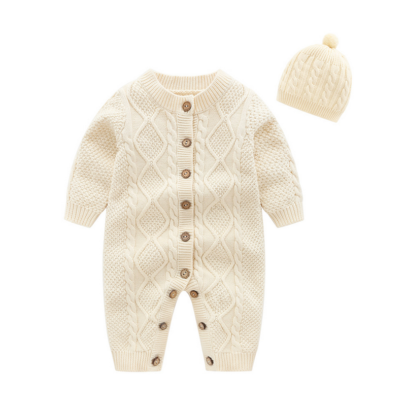 Newborn Baby Boys Girls Long Sleeve Knitted Romper Jumpsuit Soft Cotton Outfits