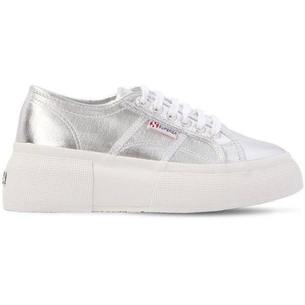 09b82c09369ce Superga Women 50mm Metallic Canvas Platform Sneakers (£105) ❤ liked on Polyvore  featuring shoes