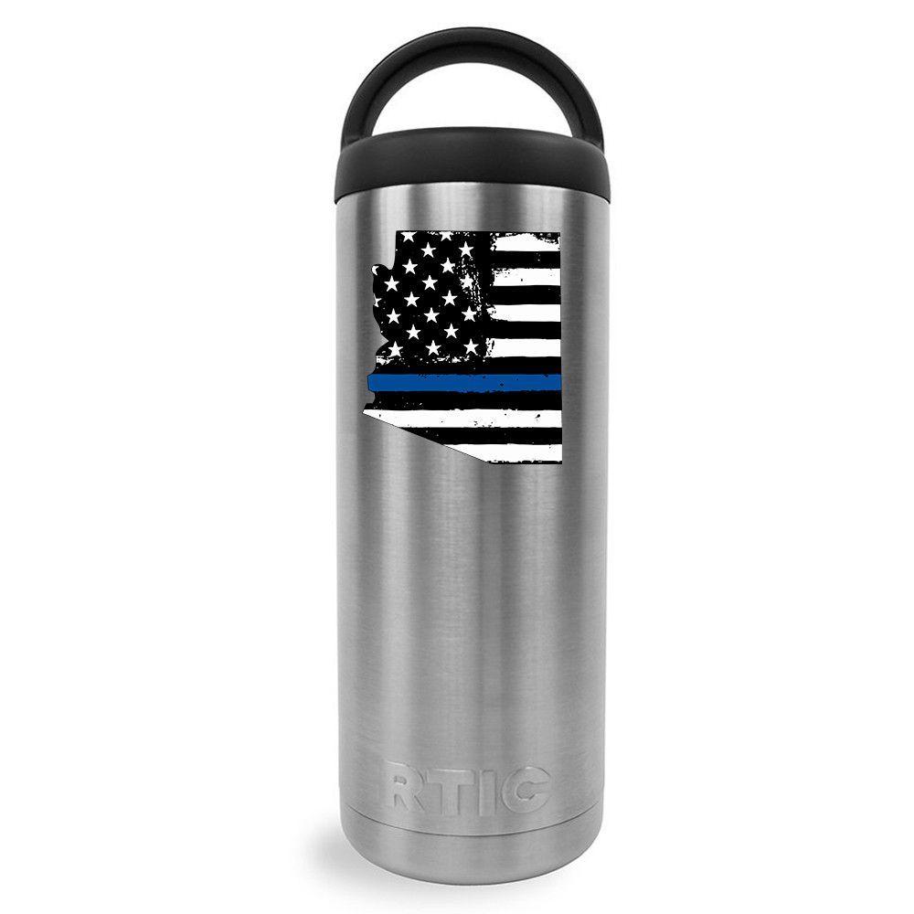 RTIC 18 oz Retro USA Flag Police Thin Blue Line Over Arizona Bottle