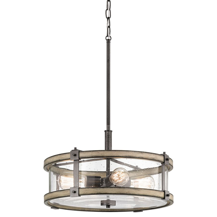 Shop Kichler Barrington 18 In Anvil Iron And Driftwood Rustic Hardwired  Single Seeded Glass Drum Pendant At Lowes.com