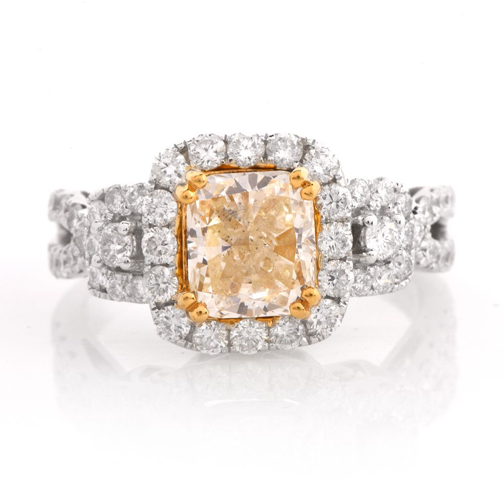 Halo Fancy Yellow 3.13cts Diamond 18K Gold Engagement Ring Item ...