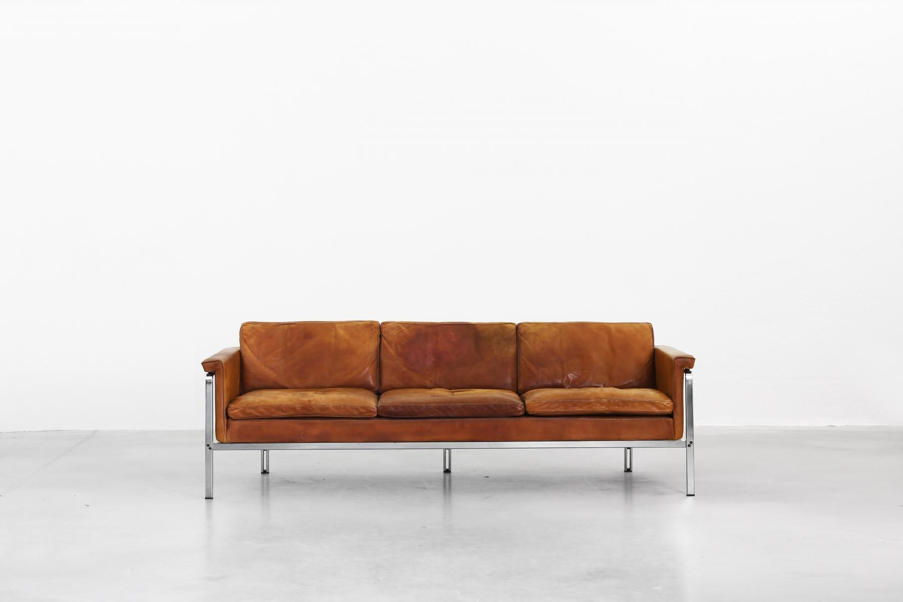 German Leather Sofa By Horst Brüning For Kill International 1968 1