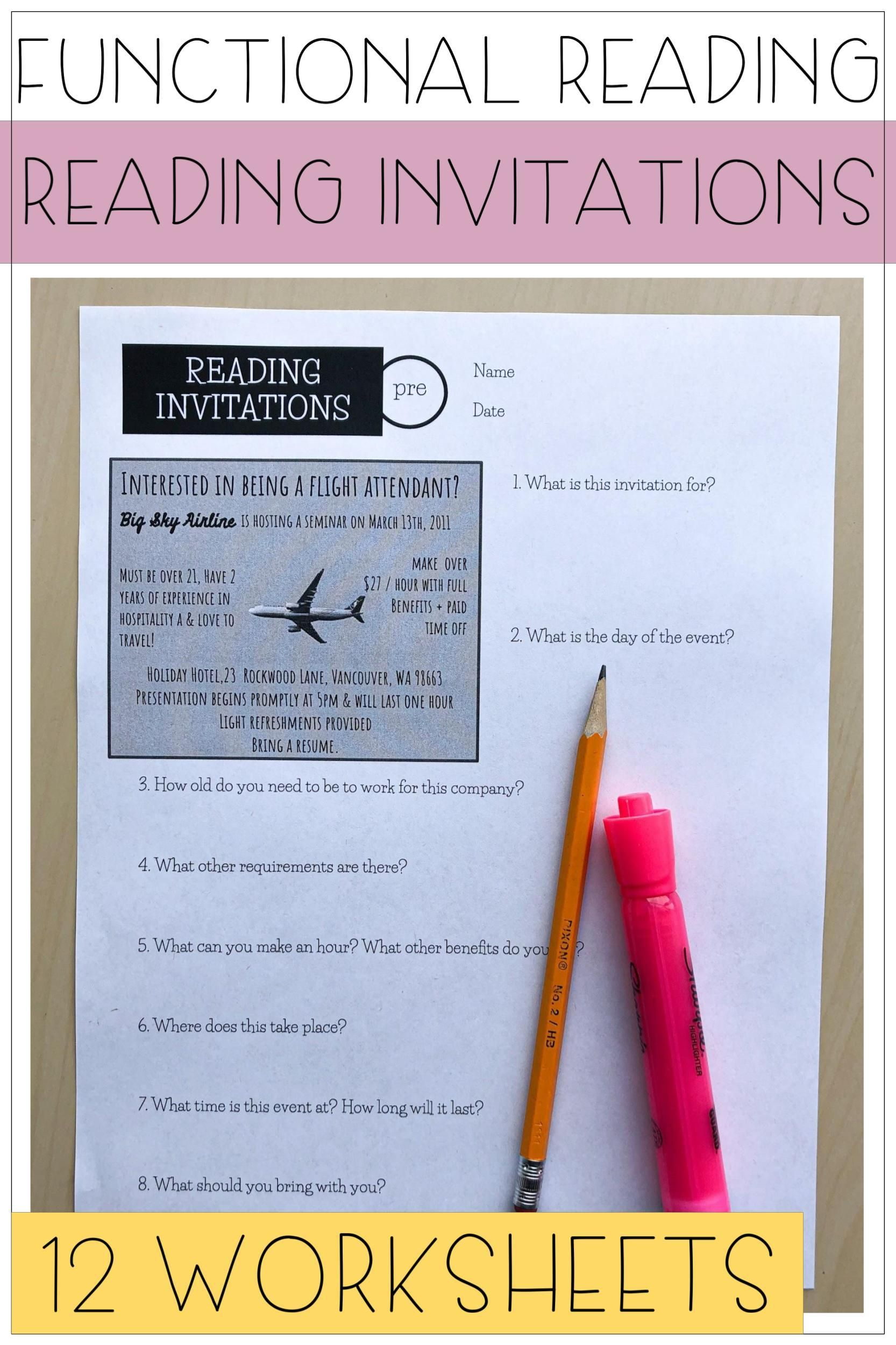 Reading Invitations Worksheets For Life Skills Functional