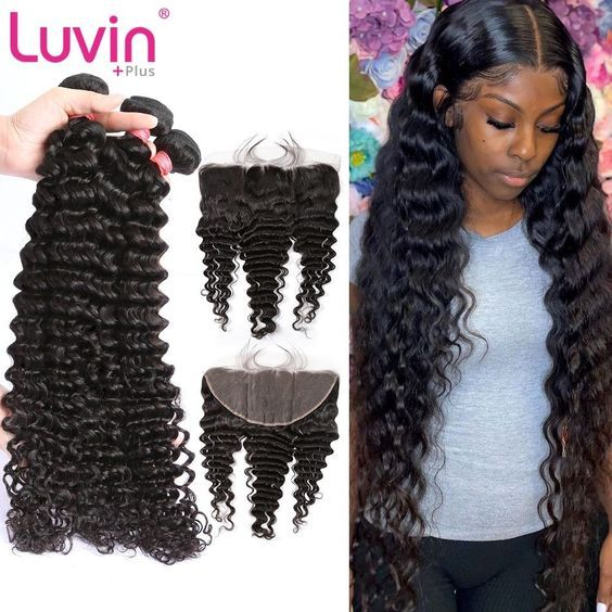 US $62.94 44% OFF|Luvin  Deep Wave Brazilian Hair Bundles Human Hair Extension 3 Bundles With Frontal Closure  wave bundles with frontal Closure|3/4 Bundles with Closure| |  - AliExpress#aliexpress #brazilian #bundles #closure #closure34 #deep #extension #frontal #hair #human #offluvin #wave