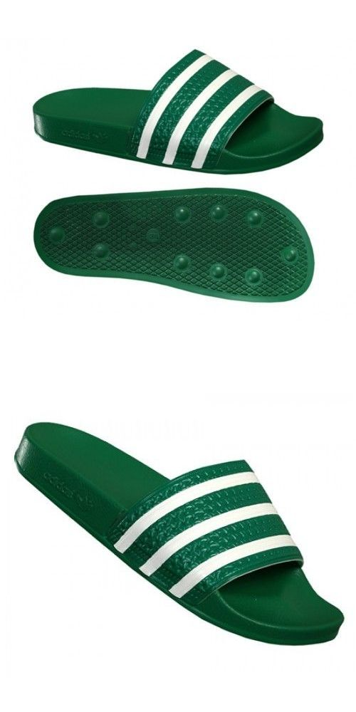dcc2d896a Sandals and Flip Flops 11504  New Adidas Adilette Slides Sandals Mens Green  White Beach Flip Flops 280646 -  BUY IT NOW ONLY   56.99 on eBay!