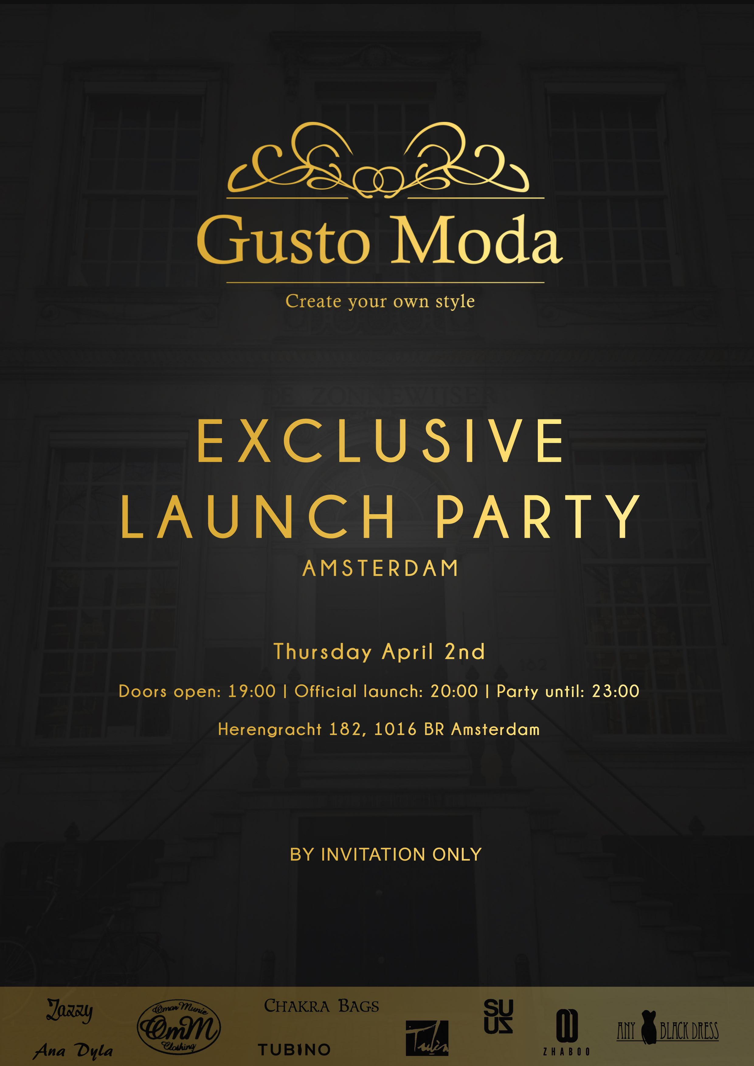 the invitation of the official launch party of gusto moda launchparty - Launch Party Invitation