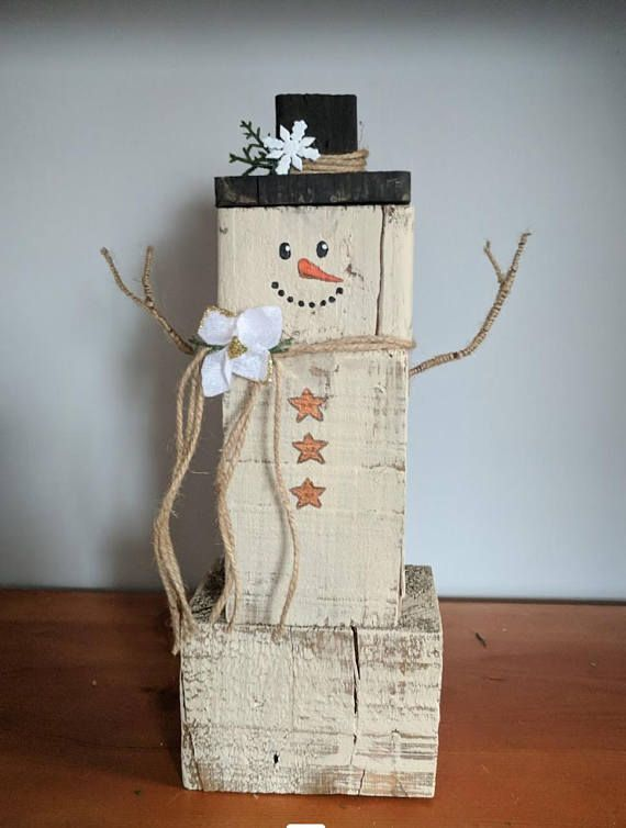 Pin By Bickimer Homes On Model Homes: Hand Painted Face Reclaimed Pallet Block Rustic Snowman