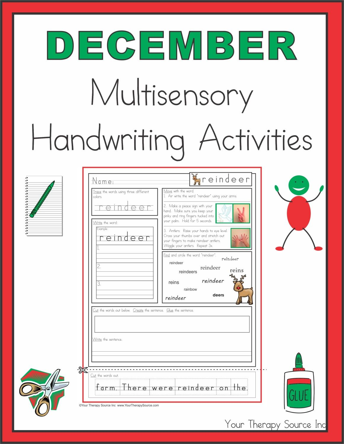 December Multisensory Handwriting Activities