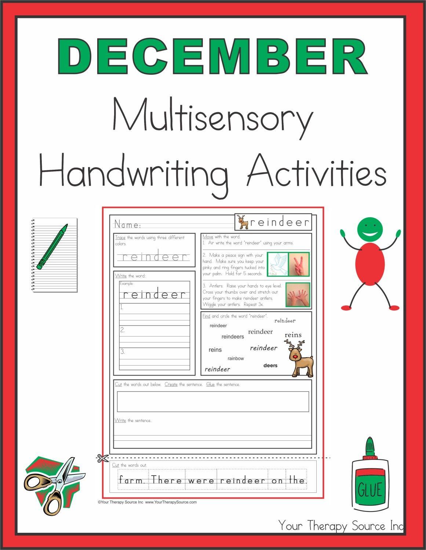 December Multisensory Handwriting Activities