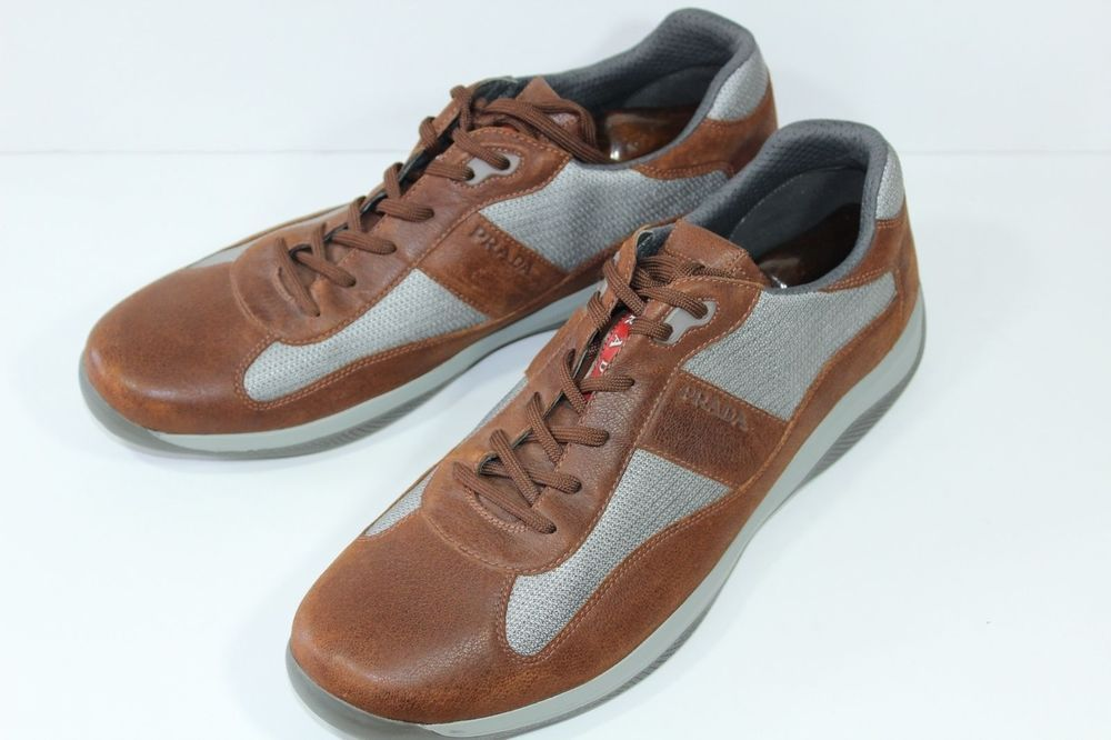 90f919aacf Prada Men's Shoes Brown Leather Casual Sneakers Size 15 #Prada ...