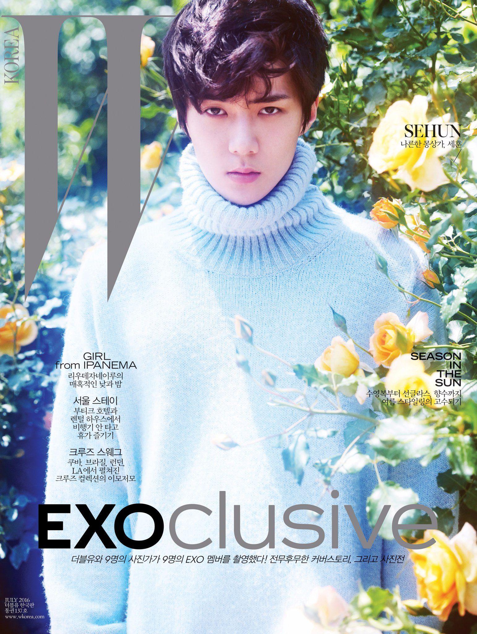 "W Korea on Twitter: ""#EXOclusive Cover 3 #SEHUN <W Korea>와 SM엔터테인먼트의 독점 콜라보레이션 프로젝트, #EXO 멤버 9종 커버 공개! 자세한 정보는 https://t.co/XJCMXskAFK https://t.co/hKpblVpi2y"""