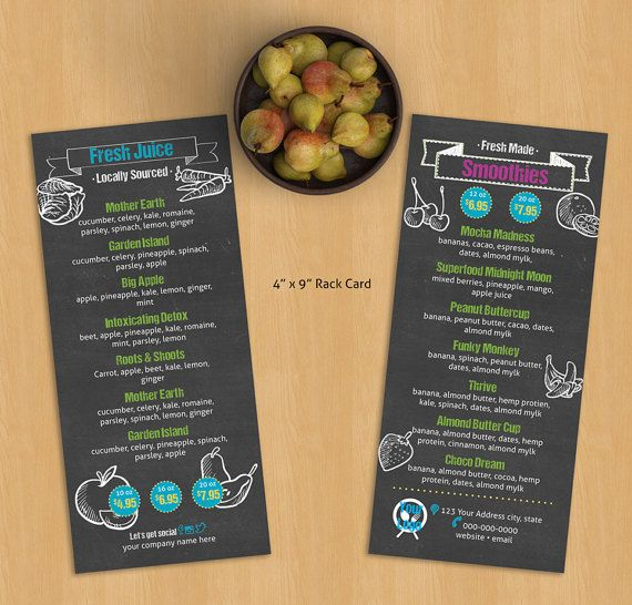 Juice Bar Rack Card Menu Template Perfect For Your Juice Etsy Juice Bar Menu Template Juice Bar Menu
