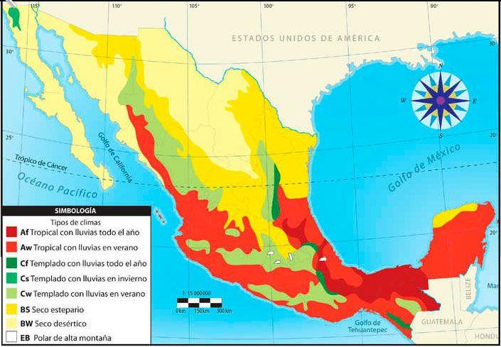 Mapa De Climas De Mexico Mapa De Mexico Mapas Tipos De Clima