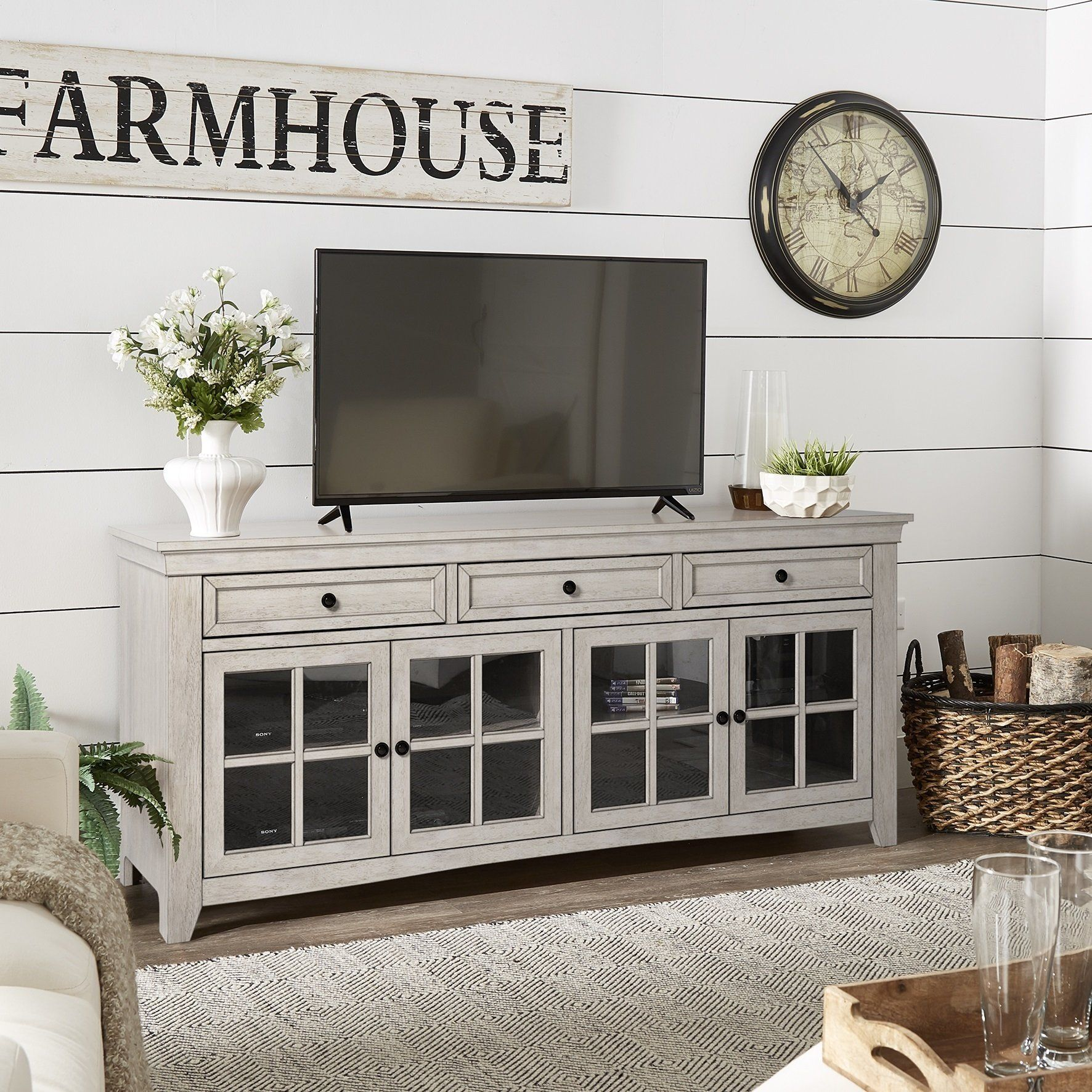 Our Best Living Room Furniture Deals Tv Stand With Glass Doors Living Room Tv Wall Tv Wall Decor Console table with glass doors