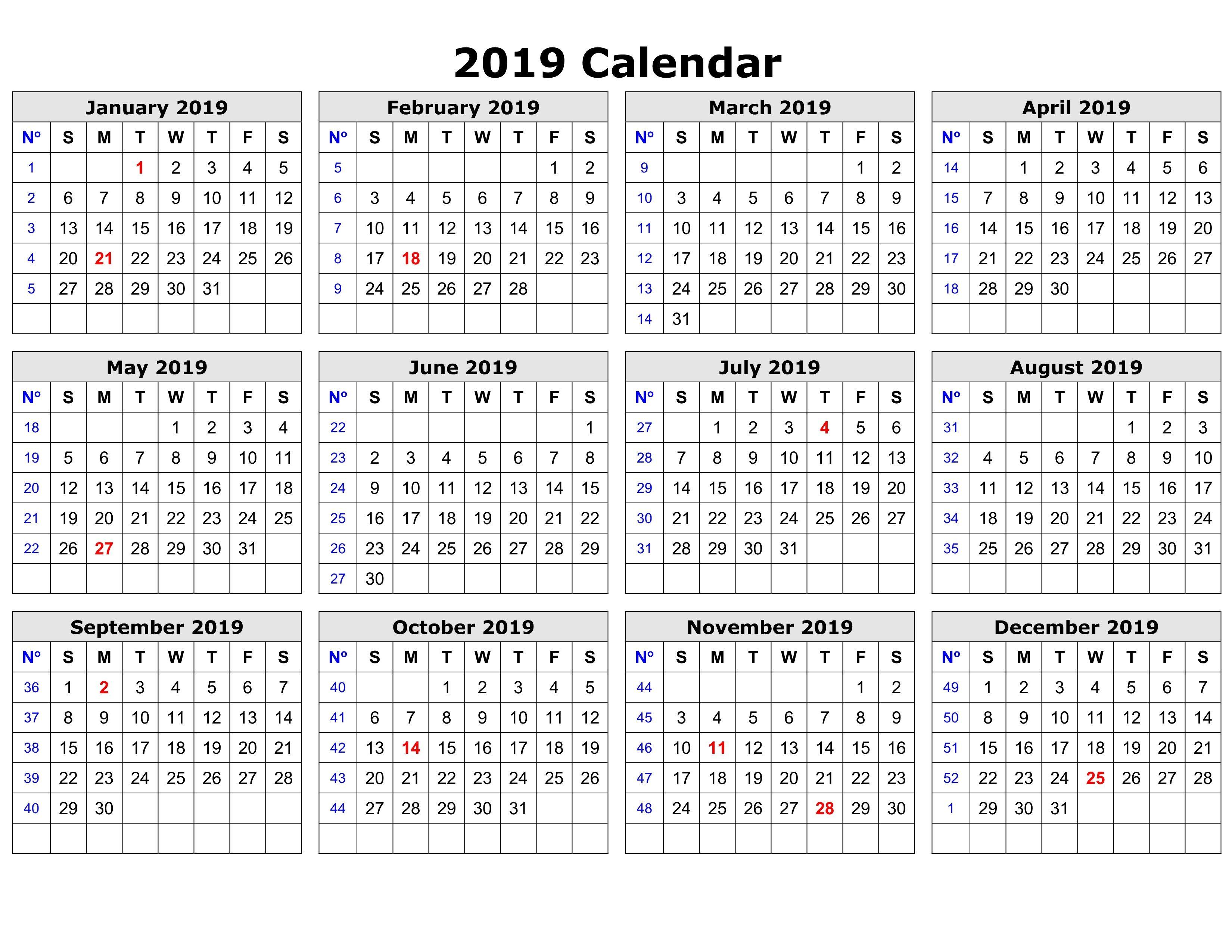 2019 Calendar Printable With Notes Calendar2019 Printablecalendar
