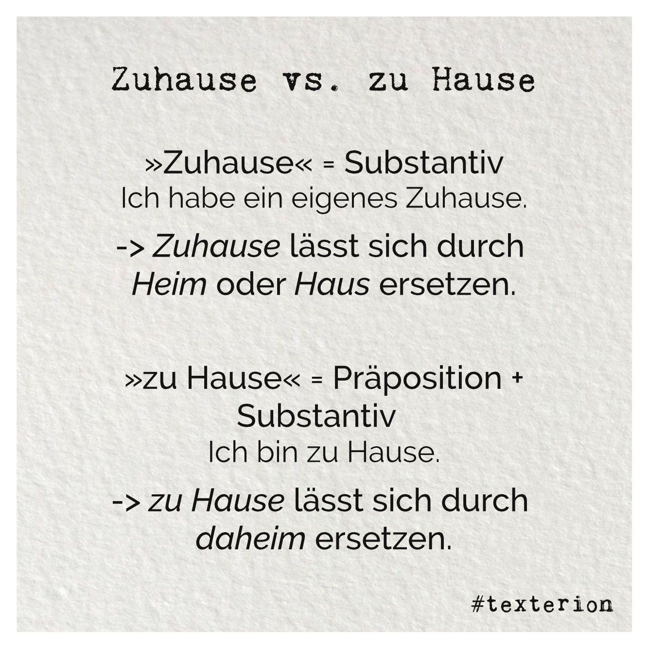 Zuhause Vs Zu Hause Ein Brief Hineinversetzen Rechtschreibung