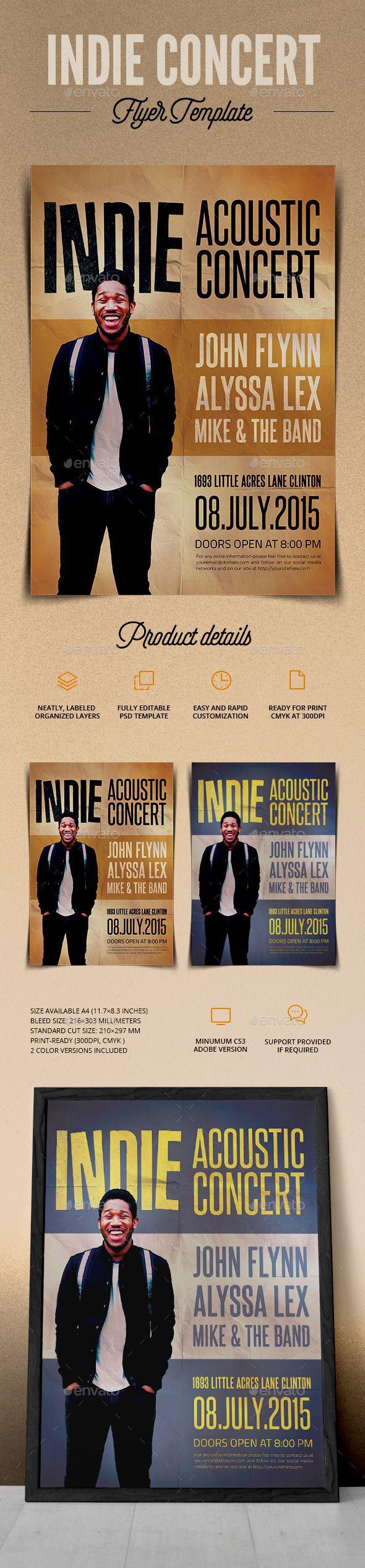 Indie Acoustic Concert Flyer  Concert Flyer Font Logo And Fonts