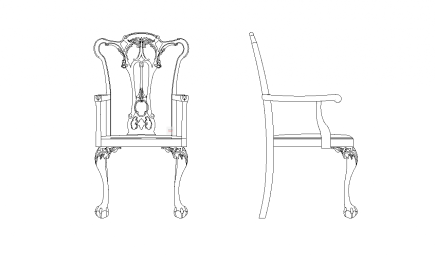 Furniture View Of Designer Chair Elevation And Side View Dwg File Chair Design Design Chair