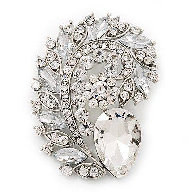 Große Ausführung, klares Glas-Feder, Korsagen-Brosche, versilbert | Your #1 Source for Jewelry and Accessories