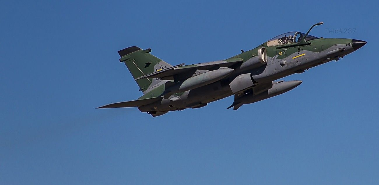 Brazilian Air Force modernized AMX fighter-bomber departing from Santa Maria Air Base