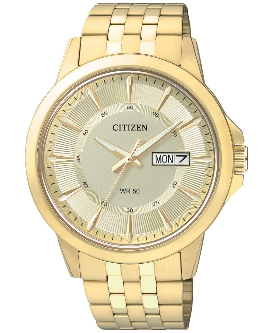 A reliable watch meant to be worn every day, by Citizen. | Gold-tone stainless steel bracelet | Round case, 41mm | Champagne dial with gold-tone indices, three hands, luminous accents, day/date window
