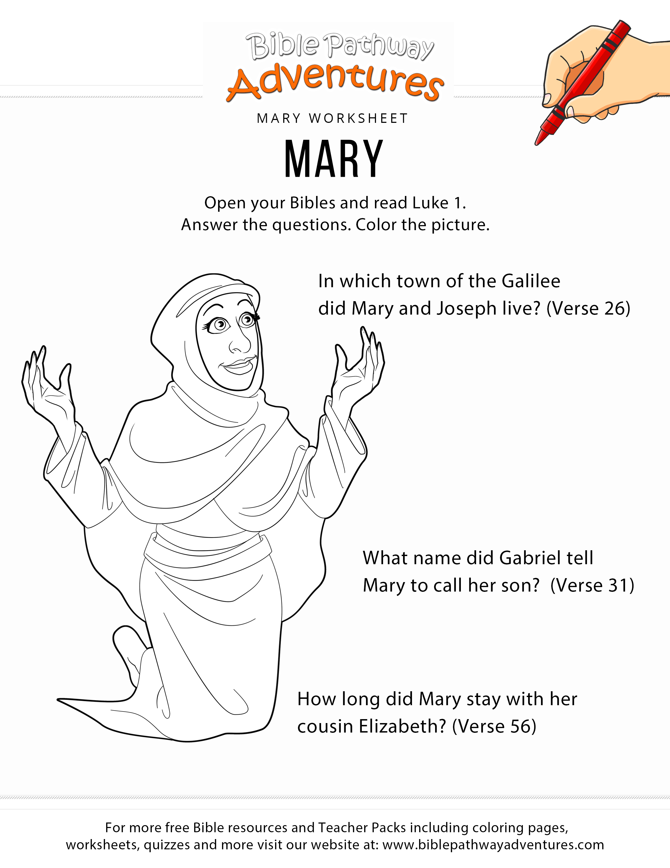 Mary Worksheet And Coloring Page