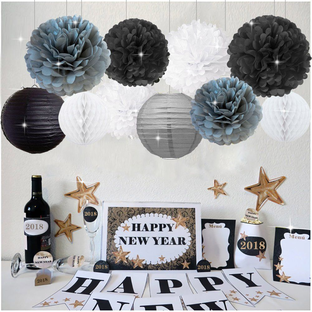 New Years Decorations Grey Black White Party Decor Kit ...