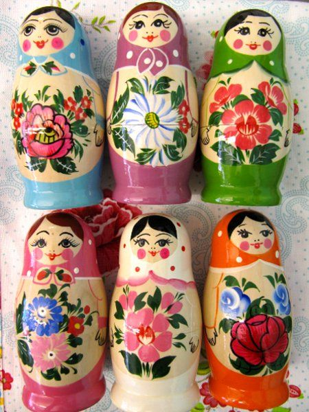 A matryoshka doll (english) матрёшка (russian) A set of Russian dolls. According to Wikipedia Russian doll designers got their inspriration from Japanese dolls.