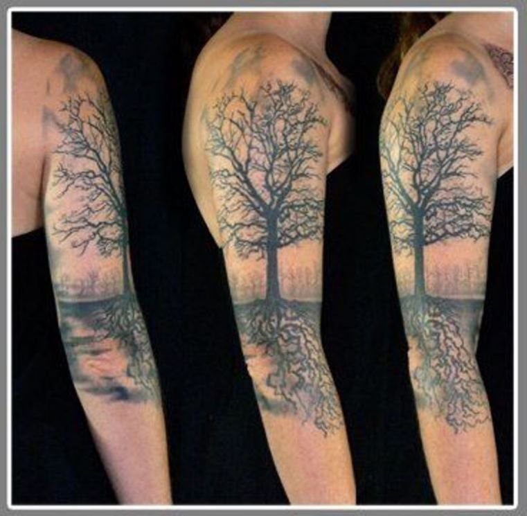 tattoo on forearm forest 30 family tree tattoos. Black Bedroom Furniture Sets. Home Design Ideas