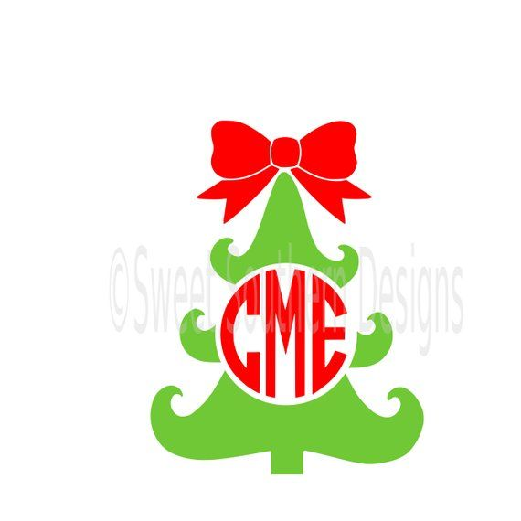 Christmas Bow Svg.Christmas Tree Monogram With Bow Svg Instant Download Design