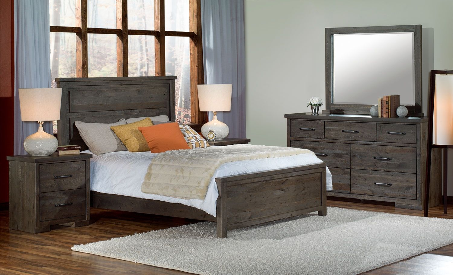 Pine Ridge 5Piece Queen Bedroom Set Slate Queen