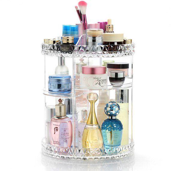 f3d668a0fe57 360 Degree Rotating Makeup Organizer, Acrylic Makeup Storage Box ...