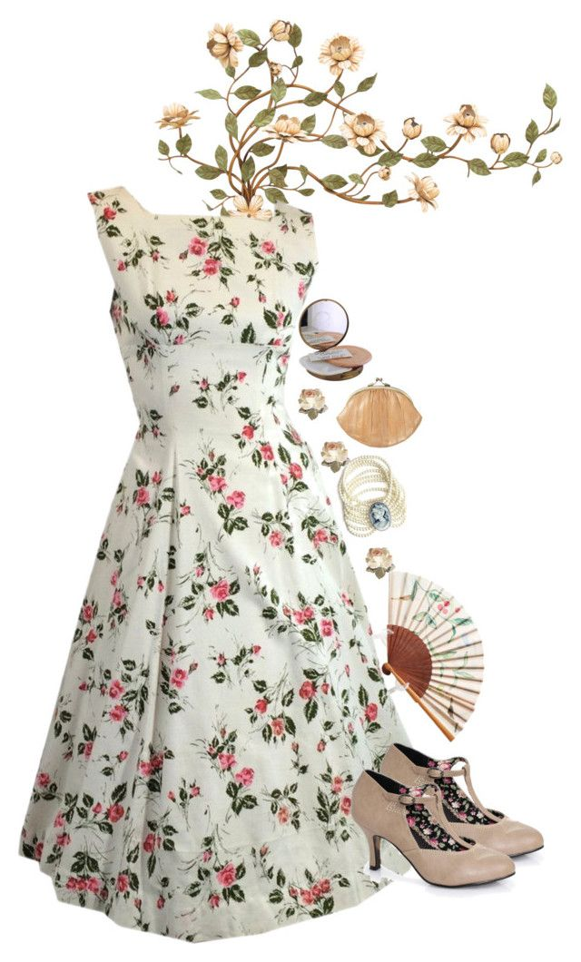 """touch of elegance"" by naughty-nymphets ❤ liked on Polyvore featuring BeckSöndergaard, Cameo, Elegant and 50s"