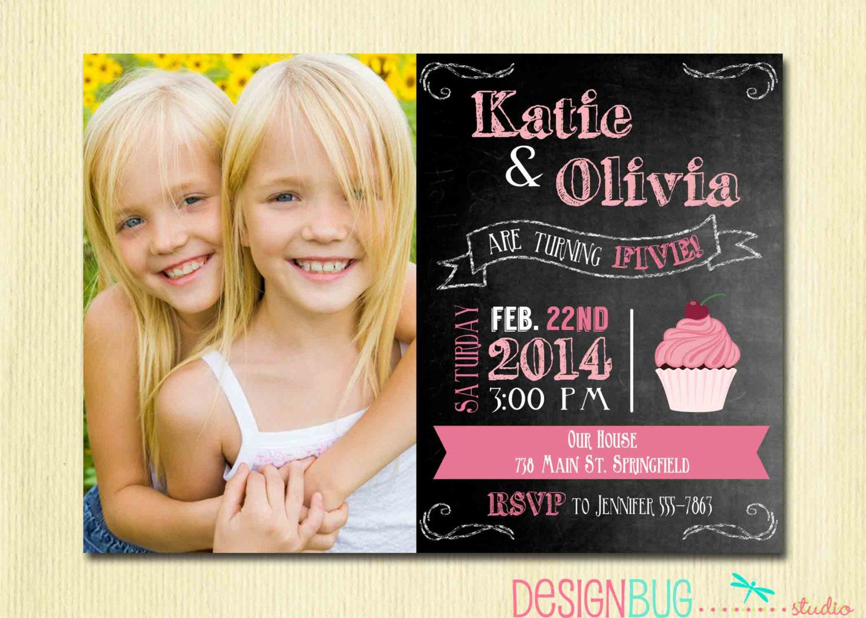 Twins Chalkboard Cupcake Invitation 1 2 3 4 por DesignBugStudio, $14 ...