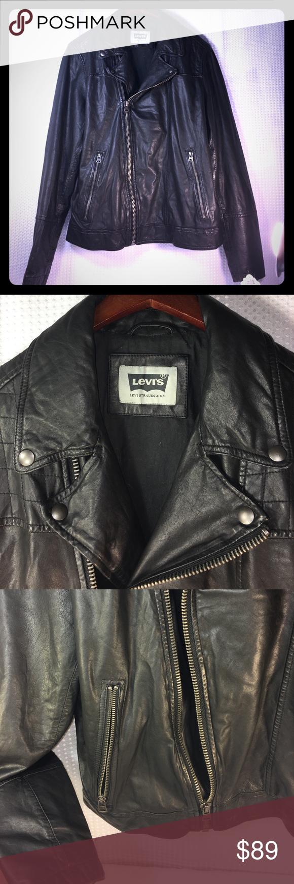 Levi's Strauss rugged leather motorcycle jacket Levi