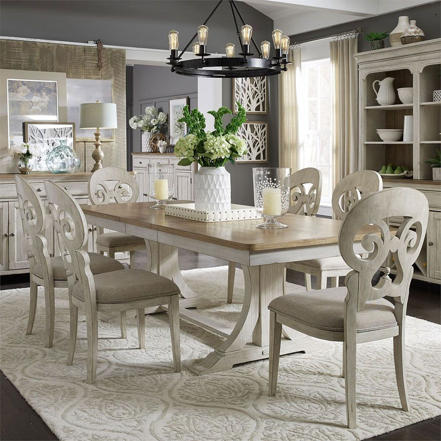 Farmhouse Reimagined Rectangular Dining Set W Splat Back Chairs In 2019 Dining Room Sets Liberty Furniture Farmhouse Kitchen Tables