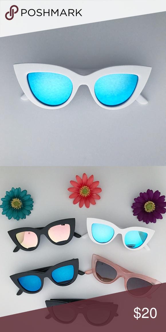 2 25 White Cat Eye Sunglasses Blue Lens White Cat Eye Cat Eye Frame Sunglasses Blue Lenses
