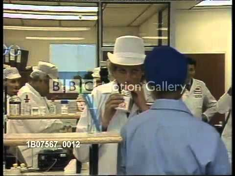 Princess Diana visits Dairy factory