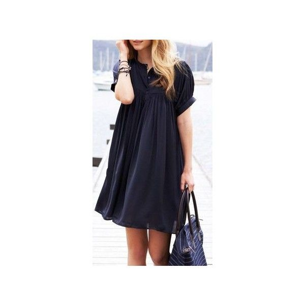 Navy Short Sleeve Shift Dress via Polyvore featuring dresses, navy shift dress, blue dress, short-sleeve dresses, navy blue short sleeve dress and short-sleeve shift dresses