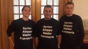 丹麥議員穿著「救救阿勒頗」T恤被趕出國會